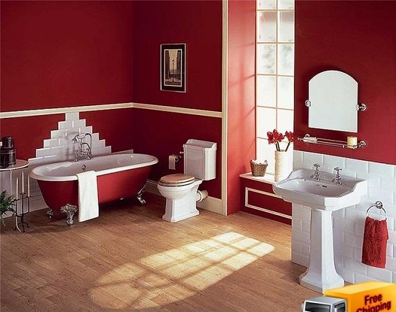 Как оформить ванную комнату в красном